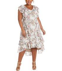 r & m richards plus size floral-print midi dress