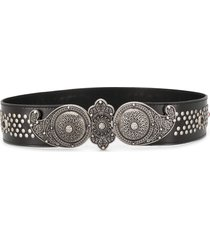 etro studded wide leather belt - black