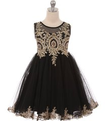 black satin stretchable tulle bodice golden pattern gold rhinestone girl dress