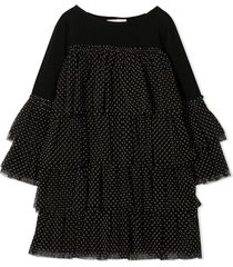 douuod black cotton ruffled dress