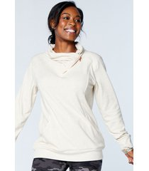 maurices womens solid zipper cowl neck pullover sweatshirt beige