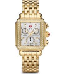 women's michele deco diamond chronograph watch head & bracelet, 33mm