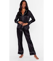 womens but first sleep contrasting satin pajama set - black
