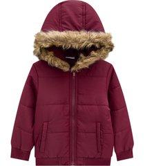 jaqueta com capuz menina milon bordã´ - vermelho - menina - algodã£o - dafiti