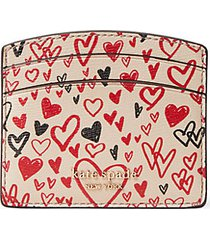 heart-print leather card holder