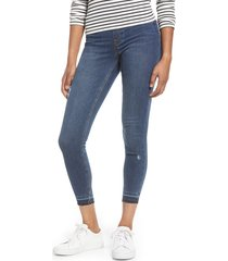 women's spanx distressed skinny jeans, size x-large - blue