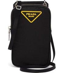 prada padded logo-patch smartphone case - black