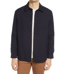 men's a.p.c. button-up flannel shirt with quilted lining, size small - blue
