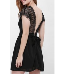lace panel backless mini bridal shower dress