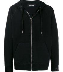 diesel micro-waffle zip-up hoodie - black