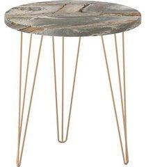 mesa lateral redonda 45 petra pé de ferro dourado - líder design