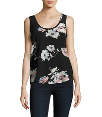 joie women's annabeth floral printed silk tank top - caviar - size s