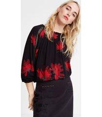 floral tricot blouse - black - xl