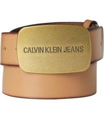 calvin klein jeans men's plaque-buckle leather belt