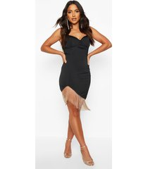 satin cupped metal fringe trim mini dress, black