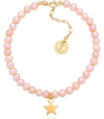 bransoletka z beżowych pereł z gwiazdką kolekcja pearlove