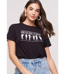 t-shirt amaro viscolycra health & cool preto - preto - feminino - dafiti