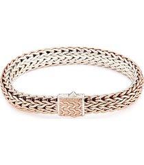 silver bronze reversible woven chain bracelet