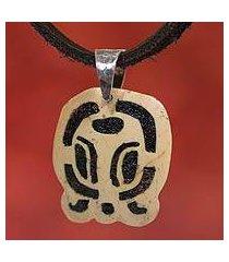 men's volcanic ash pendant necklace, 'b'atz' (guatemala)