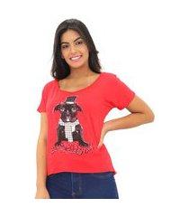 blusa t-shirt feminina estampada m- curta viscolycra verão