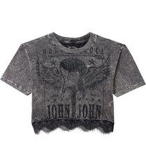 camiseta john john guitar lace feminina (cinza medio, gg)