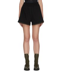 elastic waist contrast trim cotton shorts