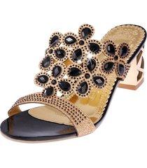 plaza de la moda de tacón alto zapatillas rhinestones sandalias