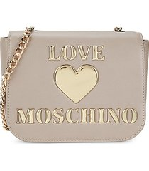love moschino women's logo flap-top crossbody bag - grey