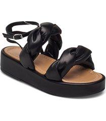 haven black leather shoes summer shoes flat sandals svart flattered