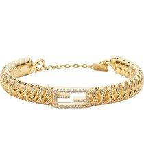 fendi encrusted baguette bracelet - gold