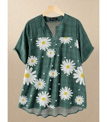 daisy polka dot print plaid plus camicetta taglia