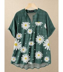 blusa taglia plus plaid stampa a pois daisy