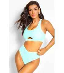 mix & match fuller bust keyhole bikini crop, mint