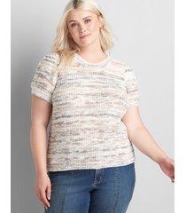lane bryant women's short puff-sleeve sweater 22/24 white/chocolate plum