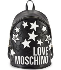 love moschino women's logo star backpack - black
