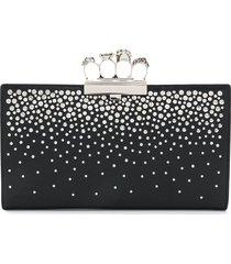 alexander mcqueen 4-ring stud-embellished clutch bag - black