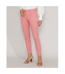 calça de sarja feminina cigarrete cintura média rosa