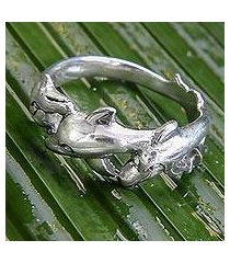 sterling silver band ring, 'dolphin family' (indonesia)