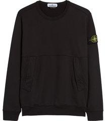 men's stone rose logo patch crewneck sweatshirt, size medium - black
