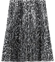 burberry leopard print pleated skirt - black