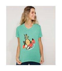 camiseta feminina frutas manga curta decote redondo verde