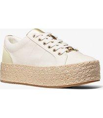 mk sneaker libby in tela di cotone con plateau - gesso (grigio) - michael kors