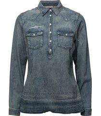 denim blouse with over-dye långärmad skjorta blå scotch & soda