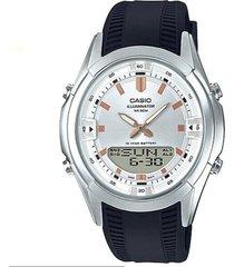 reloj analógico-digital hombre casio amw-840-7a - azul con blanco