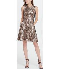 dkny scuba colorblock animal print fit flare dress
