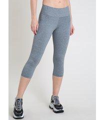 calça corsário feminina esportiva ace básica cinza mescla