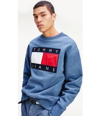 tommy hilfiger men's tommy flag sweatshirt faded ink - xl