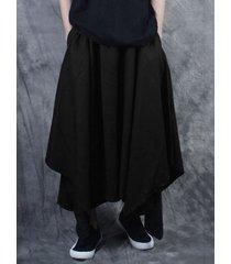 incerun harem holgado asimétrico negro de pierna ancha estilo japonés para hombre pantalones