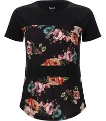 camiseta con metidos estampados color negro, talla 6