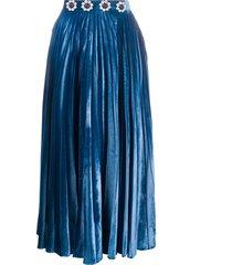 christopher kane crystal-embellished pleated midi skirt - blue